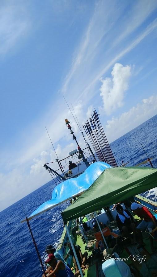 母島出港後の船上
